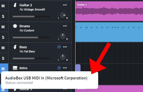 Bandlab recognizing Audiobox USB
