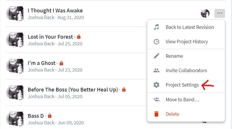 Bandlab Project List - Project Settings